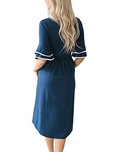 Sleeve Print NECOOER Half Boho Blue Dresses Midi Women's Dress with Casual Loose Floral Pocket Ruffle qwqH8t