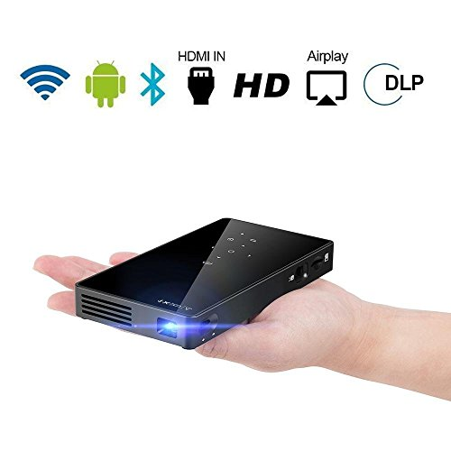 PTVDISPLAY Smart Pocket Mini Projector, 1080P WIFI Home Theater Pico Rechargeable Video DLP Projector Support Bluetooth HDMI USB TF Card...