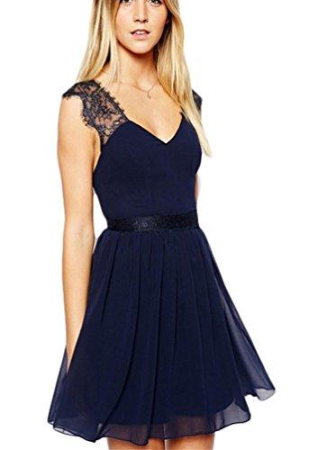 Damen V-Ausschnitt Rückenfrei Sommerkleid Minikleid Elegant Casual Rückseite Clubwear Ärmellos Chiffon mit Spitze Frauen Partykleid Strandkleid Abendkleider Mini-Kleid