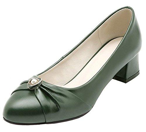 Aisun Women's Vintage Beaded Rhinestone Low Cut Dressy Pointed Toe Block Mid Heel Slip On Pumps Shoes (Olive, 8 B(M) US)