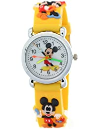 Timermall Kids Children 3D yellow Strap Mickey Mouse Cartoon Watches