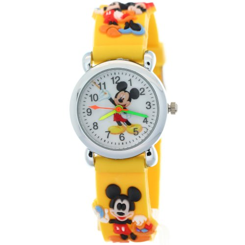 Timermall Kids Children 3D yellow Strap Mickey Mouse Cartoon Watches Watch Mickey Mouse Christmas