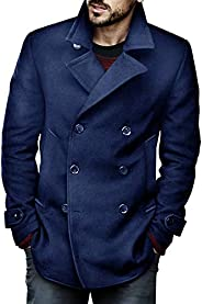 PASLTER Mens Classic Business Pea Coat Winter Warm Double Breasted Heavyweight Trench Coats