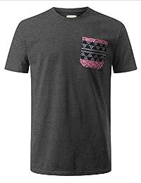 URBANCREWS Mens Hipster Hip Hop Aztec Graphic Print Pocket T-shirt