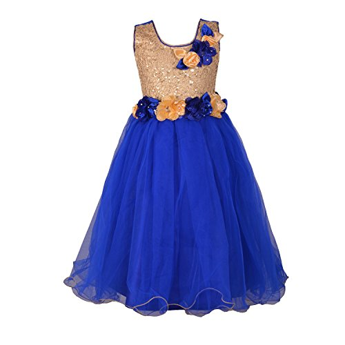 Aarika Girl's Blue Self Design Party Wear Net Gown (704-BLUE_38_14-15 Years) by Aarika