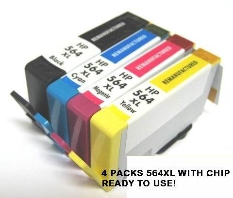 Estoreimport © 4 Compatible Hp 564 Xl Ink Cartridge with Chip for Photosmart C6340 C6350 C6380 B8550 B8553 B8558 C309c Photosmart Premium Fax All-in-one C310a Photosmart Premium E- All-in-one C410a Photosmart Premium Fax E-all-in-one C309n Photosmart Pre by Unknown