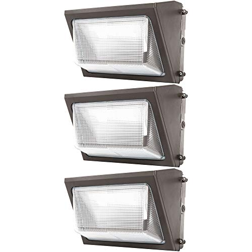 Sunco Lighting 3 Pack 80W LED Wall Pack, Daylight 5000K, 7600 LM, HID Replacement, IP65, 120-277V, Bright Consistent Commercial Outdoor Security Lighting - ETL ()