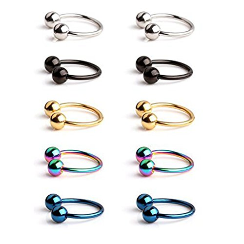 Chryssa Youree 316L Surgical Steel CBR Horseshoe Circular Rings Nose Eyebrow Tragus Lip Ear Hoop Ring Piercing 20G 8MM,10MM 2-12PCS (ED-78) (10PCS- 20G 3/8'' Mix color)