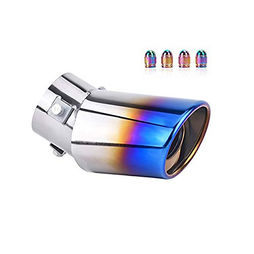 DSYCAR Universal Stainless Steel Car Exhaust Tail Tip Pipes Cover - Fit pipes Diameter 1 1/2 inch to 2 1/4 inch - 4 Free Valve Stem Caps (Curved:5.5'' X 3.4'') ()