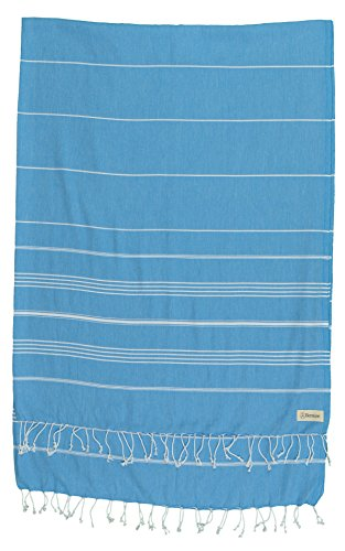 Bersuse 100% Cotton - Anatolia XL Blanket Turkish Towel - Bath Beach Fouta Peshtemal - Multipurpose Bed or Couch Throw, Table Cover or Picnic Mat - Striped - 61X82 Inches, Ocean - Pique Robe Waffle