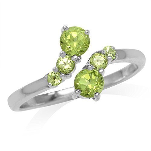 Natural Peridot White Gold Plated 925 Sterling Silver Graduated Bypass Ring Size 6