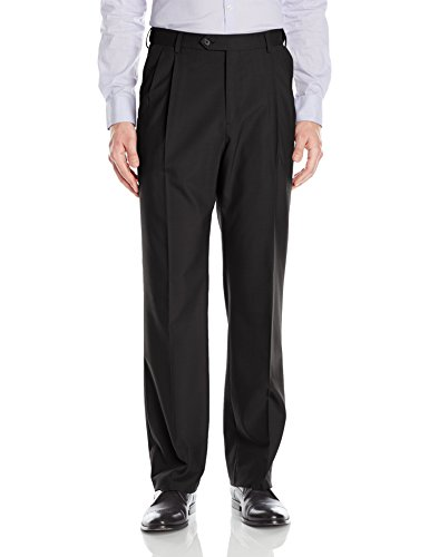 Palm Beach Men's Expander Pleat Dress Pant Washable, Black/Black, 33W (Black Worsted Wool Suit)