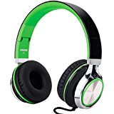 RockPapa I2052 Over Ear Foldable Headphones with Microphone, Noise Isolating, Adjustable Headsets for iPhone iPad iPod MP3/4 Laptop Black/Green