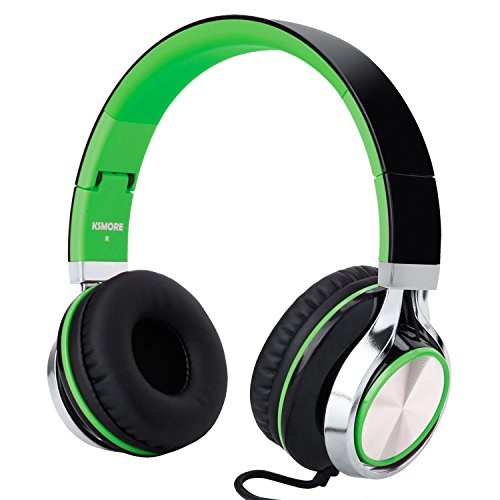 RockPapa I2052 Over Ear Foldable Headphones Microphone, Noise Isolating, Adjustable Headsets iPhone iPad iPod MP3/4 Laptop Black/Green