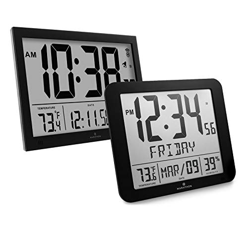 Marathon CL030062BK Slim-Jumbo Atomic Digital Wall Clock CL0