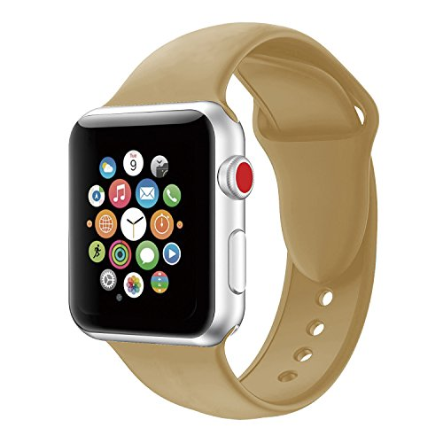 Large Product Image of Youther for Apple Watch Bands, Soft Silicone Strap Replacement Wristbands for Apple Watch Sport Series 3 Series 2 Series 1 Camel 38mm S/M