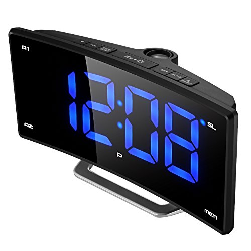 "Projection Clock,  Pictek FM Projection Alarm Clock, 2"" LED"