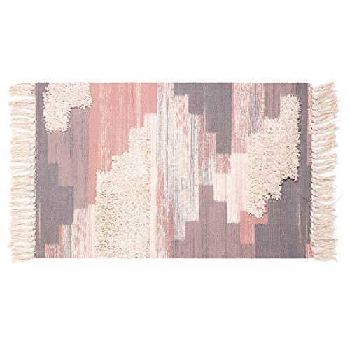 - Tufted Tassel Cotton Area Rug, KIMODE Hand Woven Print Tassels Throw Rugs Carpet Door Mat,Indoor Area Rugs for Bathroom,Bedroom,Living Room,Laundry Room (1.6' x 2.6', Red)