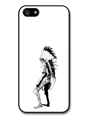 Skeleton Skull Native Feather Aztec Cool Style Black And White Illustration coque pour iPhone 5 5S