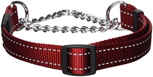 (ROGZ Utility Large 3/4-Inch Reflective Fanbelt Obedience Half-Check Dog Collar, Red)