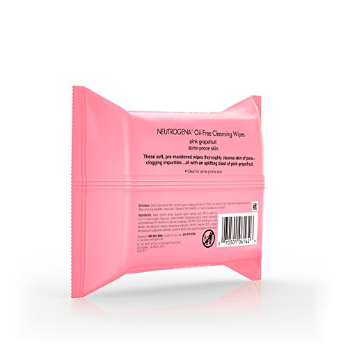 Neutrogena Oil Free Facial Cleansing Makeup Wipes with Pink Grapefruit, Disposable Acne Face Towelettes to Remove Dirt, Oil, and Makeup for Acne Prone Skin, 25 ct - Pack of 6 by Neutrogena (Image #5)