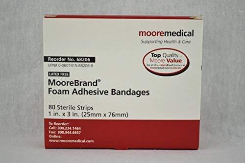 Moore Medical Foam Adhesive Bandages 1 X 3 - Box of 80