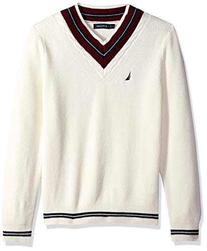 Nautica Men's Long Sleeve Cable Tipped V-Neck Sweater, Marshmallow, X-Large (Nautica Sweater Men)