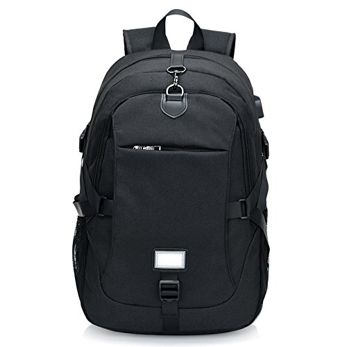 Nclon Portátiles laptop Mochila Backpack Carga del usb,Negocio Hombres Mujer Anti-robo Viajes Mochila para portátiles Multifunción 16 Inch Gran capacidad Ocio Bolsa escuela Ligero Slim-negro negro