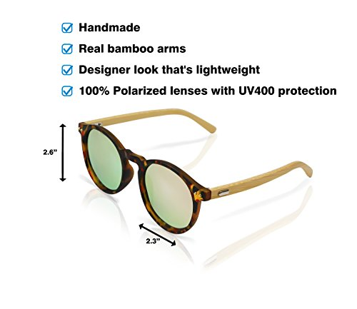 Polarized Round Bamboo Sunglasses: For Men and Women, UV Protection with Wooden Arms, Oversized by Reys (Image #3)