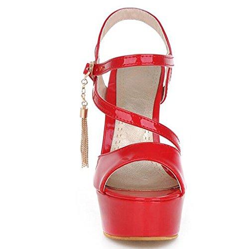 Rouge Noir Pu Talons Femmes À Été 14cm blanc rouge Minces Chaussures Sandales De Pour Bouche Poisson Hauts x1agwRy