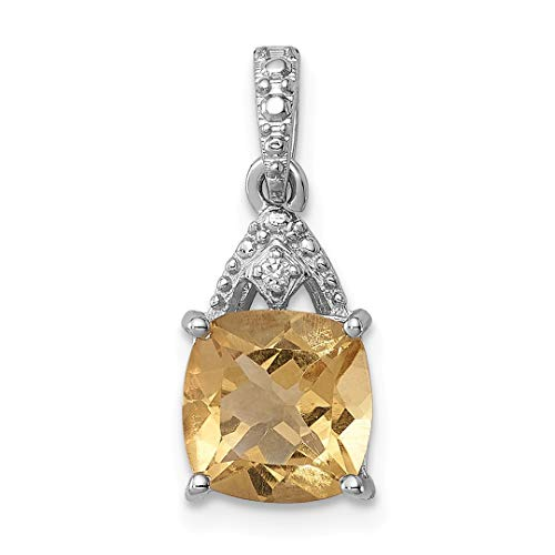 925 Sterling Silver Diamond Yellow Citrine Cushion Pendant Charm Necklace Gemstone Fine Jewelry Gifts For Women For Her ()