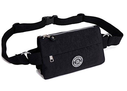Price comparison product image Tiny Chou Women's Casual Waterproof Nylon Waist Bag Outdoor Packs Running Belt 516 Black