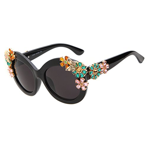 Guoxuan Women's Luxury Butterfly Crystal Flower Sunglasses - Tumblr Sunglasses Round