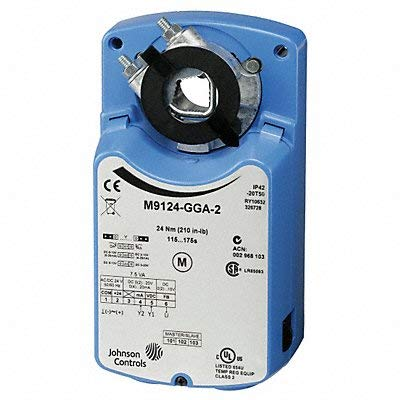 Johnson Controls M9124-HGC-2 Series M9124 Electric Non-Spring-Return Actuator, Adjustable Start and Span, DC 0 to 10 V Control, 24 Nm Torque, 2-SPDT Auxiliary Switch