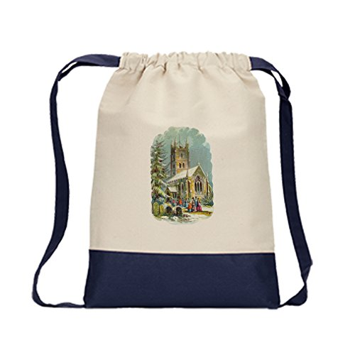 Backpack Color Drawstring Church With People Vintage Look By Style In Print | Navy by Style in Print