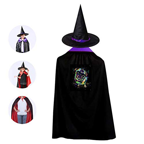 69PF-1 Halloween Cape Matching Witch Hat Art Pug Painting Wizard Cloak Masquerade Cosplay Custume Robe Kids/Boy/Girl Gift Purple]()
