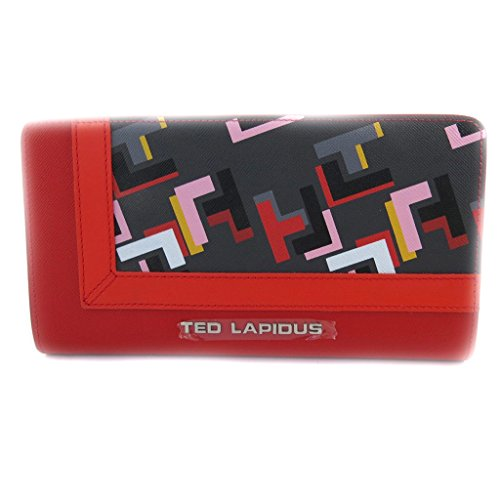 Zipped wallet + checkbook holder 'Ted Lapidus' red multicolored. by Ted Lapidus