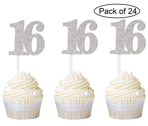 Newqueen Numbers 16 Cupcake Toppers Silver Glitter Sweet 16th Birthday Cupcake Picks Party Decoration Supplies 24 PCS