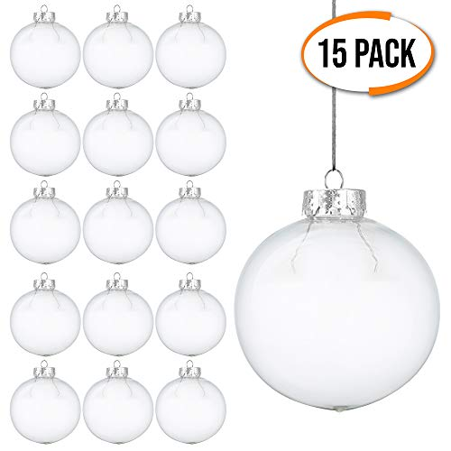 THE TWIDDLERS 15 Pack Clear Plastic Christmas Baubles | Plastic Clear Ornaments | White Christmas Ornaments Balls | Personalized Christmas Fillable Ornaments | Great for Crafting DIY Ornaments (Clear Baubles Plastic)