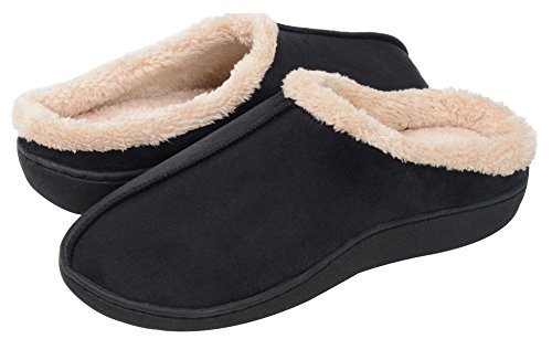 UltraIdeas Men's Thickening Plush Suede Warm Comfort House Slippers with Non-Slip Sole (M /7-8 D(M) US, Black)