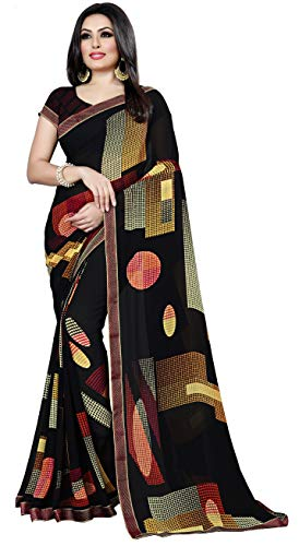 Women's Faux Georgette Geometric Print Saree Black 6.30 m With Blouse Piece by Kalaa Varsha (Free Size, Multicolor)