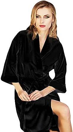 Manam Bata de satén Kimono Mujer Sexy lencería Mujer Camisa de Noche con cinturón íntima de Noche en Caja Negro 42: Amazon.es: Ropa y accesorios