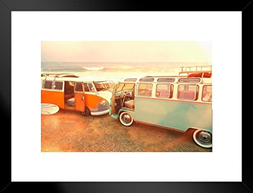 Vintage Vans Parked On Beach Photo Art Print Matted Framed