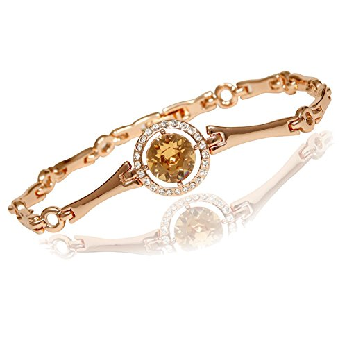 Women's Rose Gold Plated Bangle Bracelet, 24 Cubic Zirconia Surrounding A Light Brown European Crystal (9k Yellow Brooch)