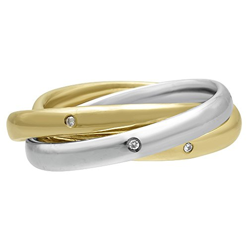 (14k Two-tone Gold Modern Rolling Band Women's Comfort-fit Wedding Bands (3mm) Size-3)
