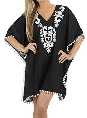 Plus Cover Size Ups (LA LEELA Rayon Solid Beachwear Loose Cover Up OSFM 16-24 [XL-3X] Black_2488)