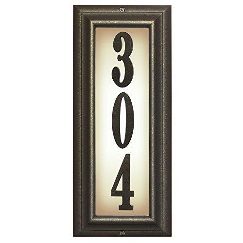 Qualarc, Inc. Edgewood Vertical Lighted Address Plaque, Oil Rub Bronze LTV-1303-ORB