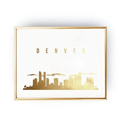 Denver Print, Denver Skyline, Denver Cityscape, Skyline Art, Real Gold Foil Print, Home Decor,