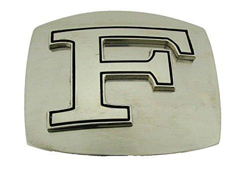 Initial Belt Buckle Silver Plain Metal Monogram American Alphabet New Symbol Men (Initial Letter (New Monogram Letter)