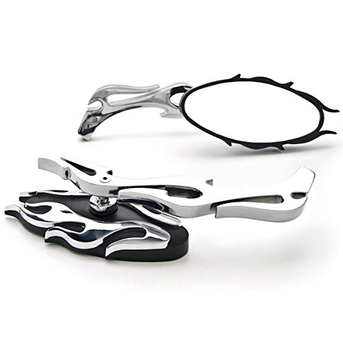 Krator Universal Chrome Flame Mirror Head Arm Motorcycle Cruiser Harley + Includes Bolts Fits Most Harley Suzuki Honda Kawasaki Cruisers Touring Sportbike Scooters Rear View - Free Adapters (Touring Kawasaki Sport)